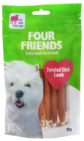 FourFriends Dog Twisted Stick Lamm 12.5 cm 7-pack i gruppen Hundgodis / Tuggben hos Dogmania (1136)
