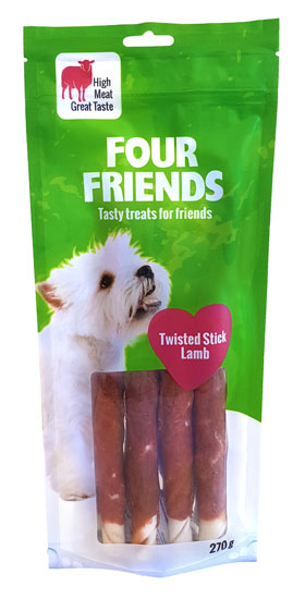 FourFriends Dog Twisted Stick Lamb 25 cm 4-pc in the group Dog Treats & Chew bones / Chew Bone at Dogmania (1138)