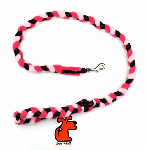 Tug-E-Nuff Braided Leash, Pink/black in the group Dog Equipment / Leashes / Tug Leashes at Dogmania (128003)
