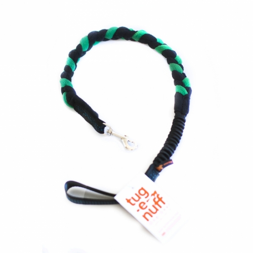 Tug-E-Nuff Braided Leash with Bungee, Green/Black in the group Dog Equipment / Leashes / Tug Leashes at Dogmania (132006)