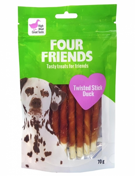 FourFriends Twisted Stick Duck 12,5cm 40-pc in the group Dog Treats / Chew Bone at Dogmania (1579)