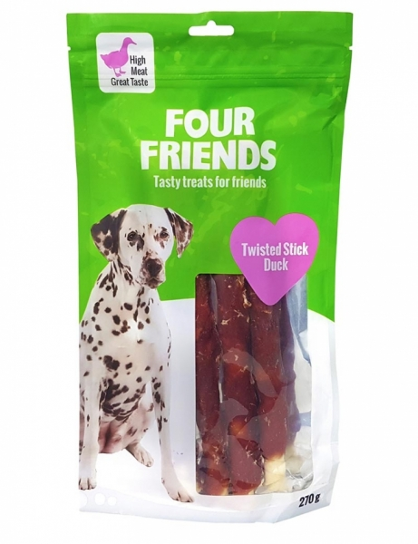 FourFriends Twisted Stick Duck 25 cm 4-pack i gruppen Hundgodis / Tuggben hos Dogmania (1582)