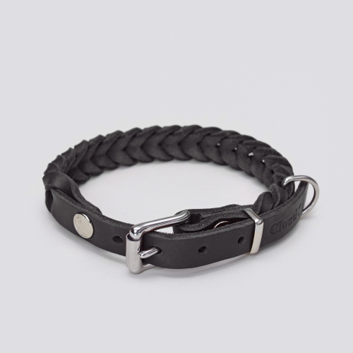 Cloud7 Central Park Saddle Black Braided Leather Collar in the group Dog Equipment / Dog Collars / Leather Collar at Dogmania (1996)