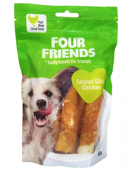 Four Friends Twisted Stick Chicken 12,5 cm 4-pack i gruppen Hundgodis / Tuggben hos Dogmania (2172)