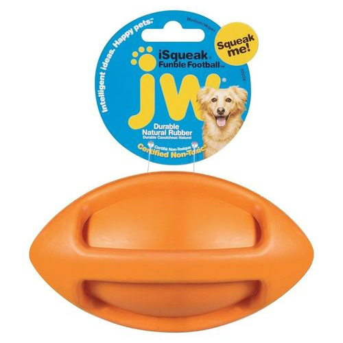 JW iSqueak Funble Football Orange L in the group Dog toys / Balls / Balls with squeaker at Dogmania (251015)