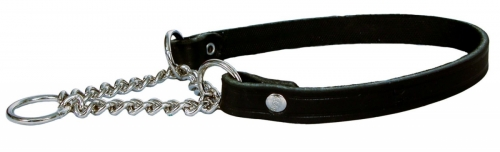 Alac Leather Collar with chain, Black in the group Dog Equipment / Dog Collars / Leather Collar at Dogmania (535)