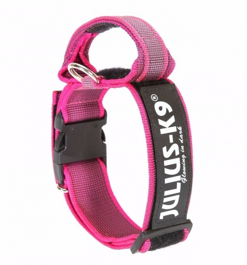 Julius K9 Color & Gray Collar with Handle Pink in the group Dog Equipment / Dog Collars / Adjustable Dog Collars at Dogmania (971)