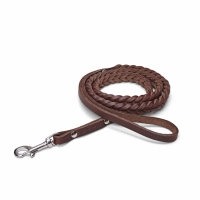 Cloud7 Central Park Saddle Brown Braided Leather Leash