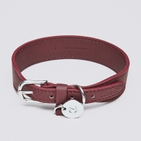 Cloud7 Vondelpark Burgundy Leather Dog Collar