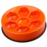 M-PETS Cavity Slow Feed Bowl Round Orange