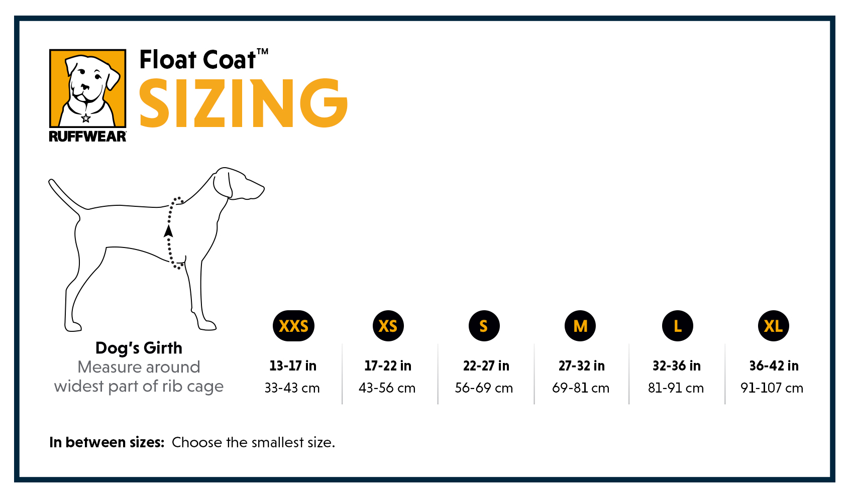 Ruffwear Float Coat Size Guide