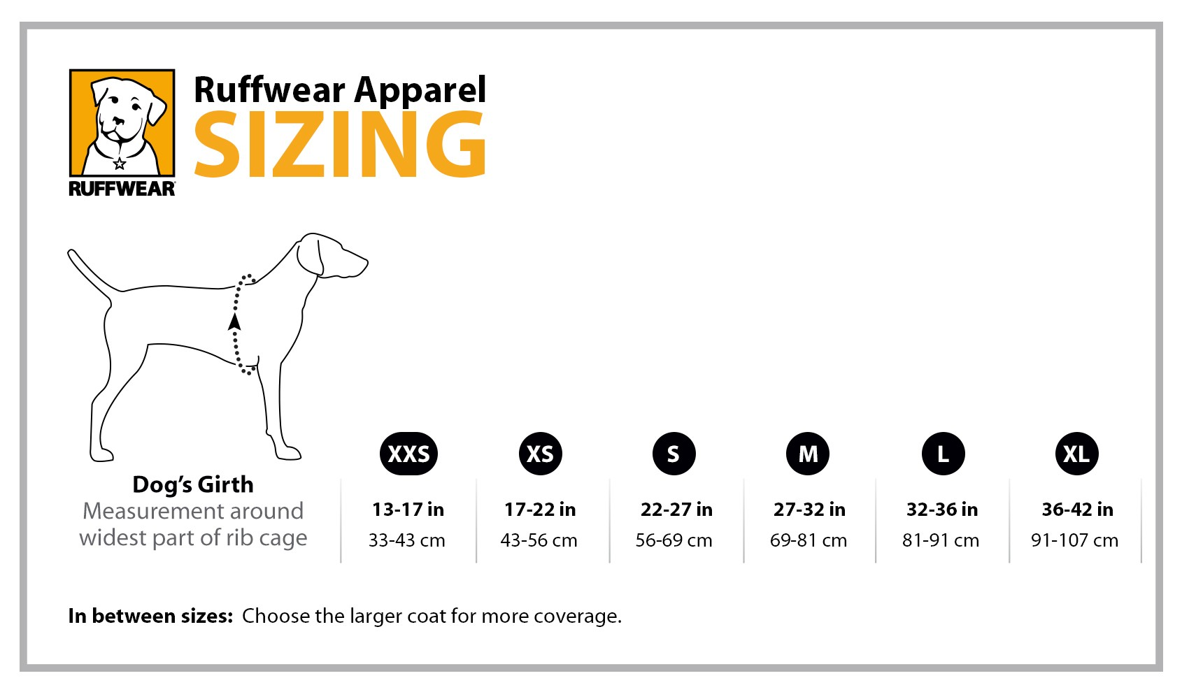 Ruffwear Apparel Size Guide